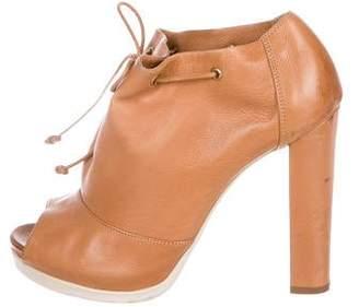 Fendi Leather Peep-Toe Ankle Booties