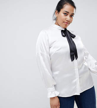 Junarose contrast bow blouse