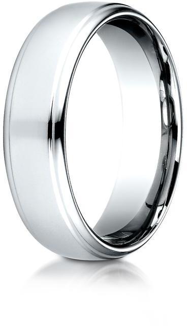 Benchmark Platinum 6.5mm Comfort-Fit High Polished Drop Edge Design Wedding Band