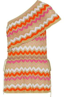 M Missoni One-Shoulder Metallic Crochet-Knit Cotton-Blend Top