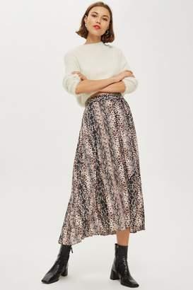 Topshop Snake Print Pleat Midi Skirt