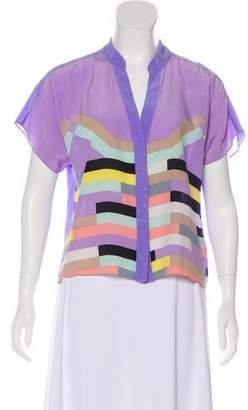 Tibi Short Sleeve Button-Up Top
