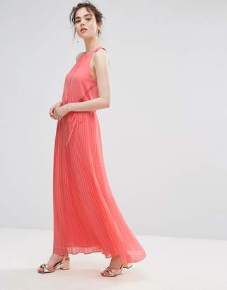 Oasis Ruffle Neck Pleated Maxi Dress $103 thestylecure.com