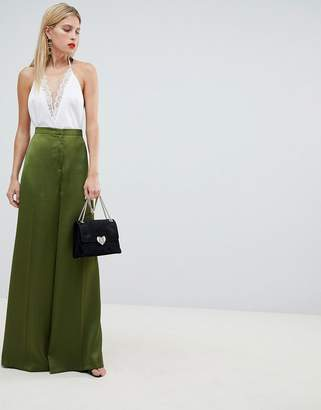 Asos DESIGN Tailored Satin Wide Leg Pants