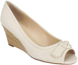 Isaac Mizrahi Live! Peep Toe Canvas Wedges with Bow Detail