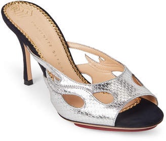 Charlotte Olympia Silver C'est Chaud Mule Sandals