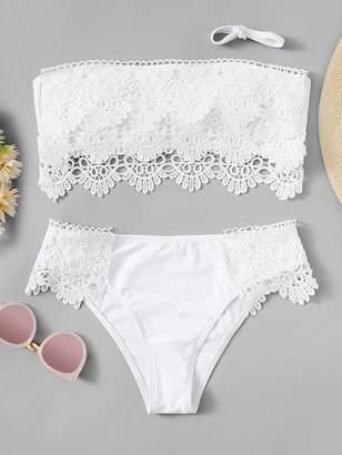 3d5b554f87 Shein Lace Panel Tie Back Bandeau Bikini Set