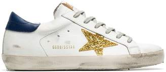 Golden Goose white Superstar leather and glitter sneakers