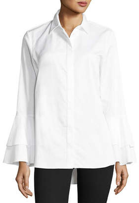 Go Silk Ruffle-Sleeve Cotton Shirt, Petite