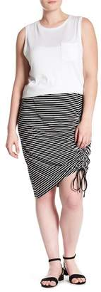 Susina Ruched Side Stripe Jersey Pencil Skirt (Plus Size)
