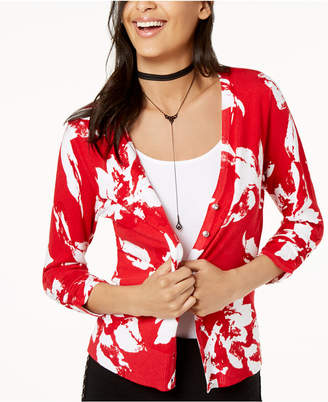 INC International Concepts I.N.C. Floral-Print Rhinestone-Button Cardigan, Created for Macy's
