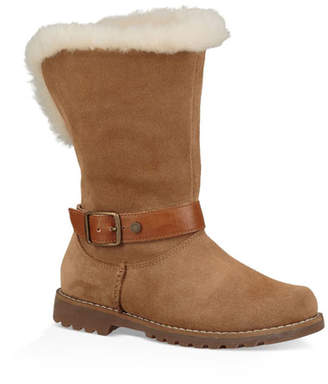 UGG Nessa Suede Boots w/ Exposed Sheepskin Shaft, Baby/Toddler