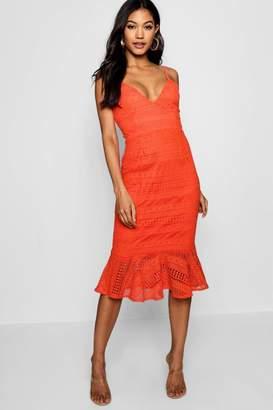 boohoo Lace Flared Hem Midi Dress