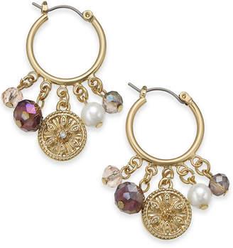 Charter Club Gold-Tone Coin, Bead & Imitation Pearl Hoop Earrings, Created for Macy's