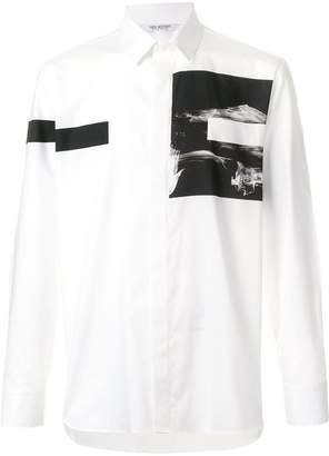 Neil Barrett block stripe and graphic print shirt