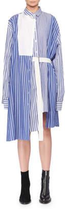 Sacai Striped Mixed Shirting Belted Wrap Dress