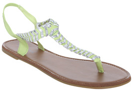 Wet Seal WetSeal Metallic Stitch Sandal Lime