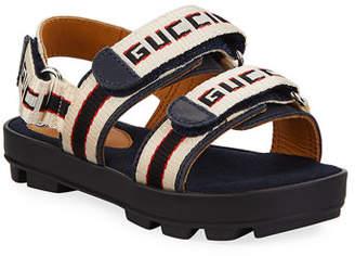 Gucci Sam Web Logo Grip-Strap Sandals, Baby/Toddler/Kids
