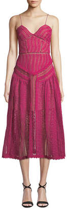 Self-Portrait Floral Lace Sleeveless Midi Dress