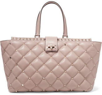 Valentino Candystud Quilted Leather Tote