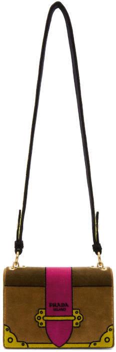 Prada Tan Velvet Trompe LOeil Cahier Bag
