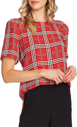 Vince Camuto Highland Plaid Short Sleeve Blouse