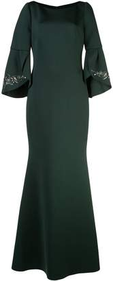 Badgley Mischka A-line flared sleeve dress