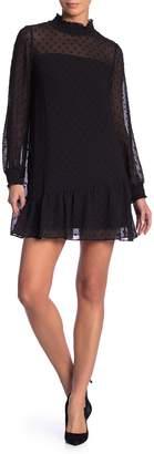 Kensie Clip Dot Long Sleeve Dress