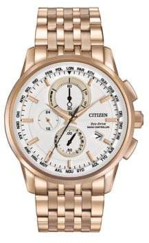 Citizen Eco-Drive Stainless Steel World Chronograph A-T Bracelet Watch