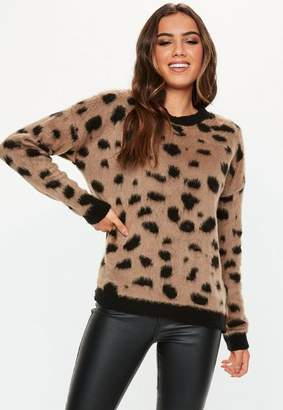 Missguided Brown Brushed Animal Print Oversized Sweater