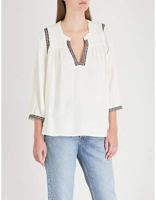 BA&SH Time embroidered crepe top