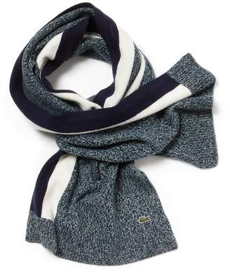 Lacoste Men's Contrast Band Mouline Wool Jersey Scarf