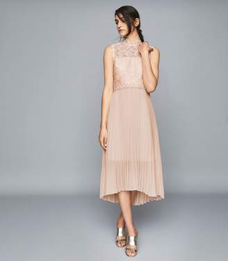 Reiss AIDEEN LACE DETAIL PLEATED MIDI DRESS Nude