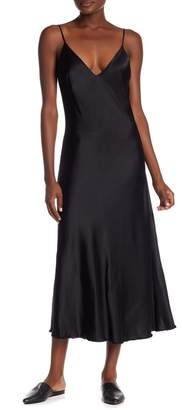 Frame Satin Frayed Hem Dress