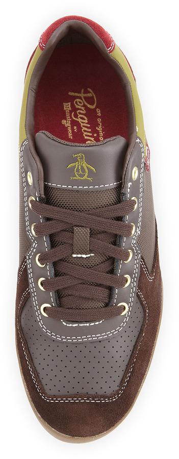 Penguin Fandango Colorblock Tennis Shoe, Dark Brown/Avocado