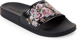 Alberta Ferretti Black Floral Slide Sandals