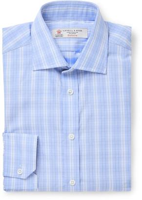 Turnbull & Asser Light-Blue Checked Cotton-Poplin Shirt