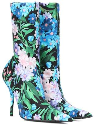 Balenciaga Knife floral-printed ankle boots