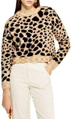 Topshop Leopard Print Crop Sweater