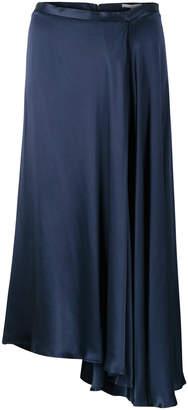 Oliver Bonas Luna Navy Satin Asymmetric Wrap Skirt