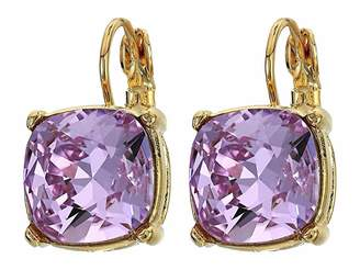 Kenneth Jay Lane Gold Eurowire/Violet 12 mm Faceted Square Stone Earrings