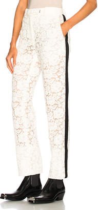 Calvin Klein Cotton Viscose Lace Trousers in Ivory | FWRD