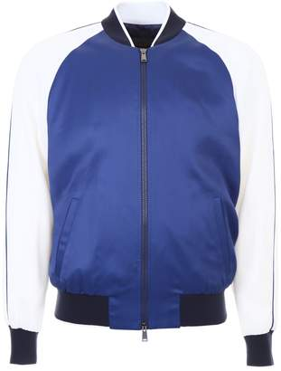 Versace Satin Bomber Jacket With Embroidery