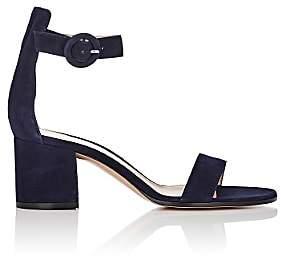 Gianvito Rossi Women's Versalia Suede Ankle-Strap Sandals - Navy