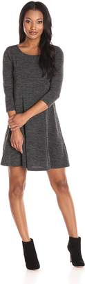 Everly Women's Long Sleevve Swing Dress, Grey