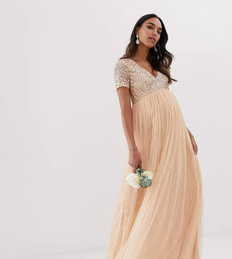 80f022b92df98 Maya Maternity Bridesmaid V neck maxi dress with delicate sequin in soft  peach