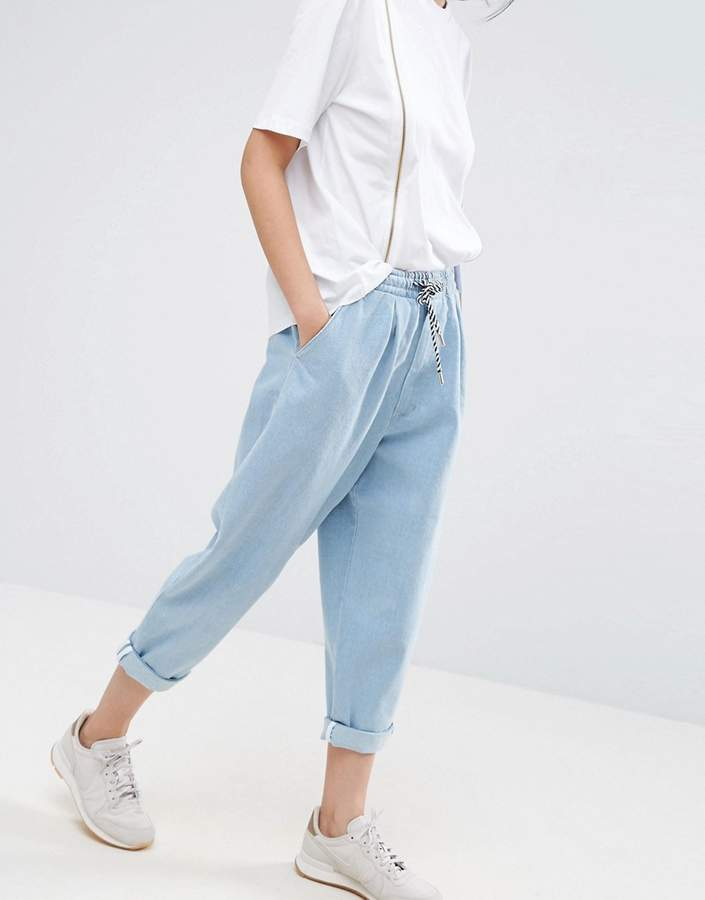 Asos ASOS White ASOS WHITE Denim Jean With Tie Waistband In Lightblue Wash