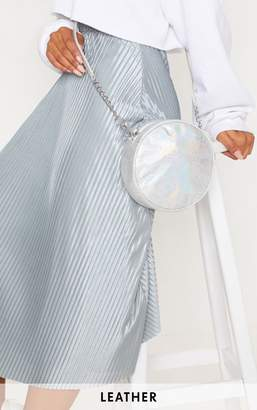 PrettyLittleThing Silver Real Leather Iridescent Round Cross Body Bag