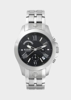 Versus Black Dial Silver Chrono Lion Watch