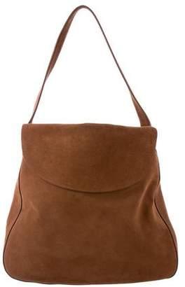 Prada 2015 Double-Flap Suede Shoulder Bag